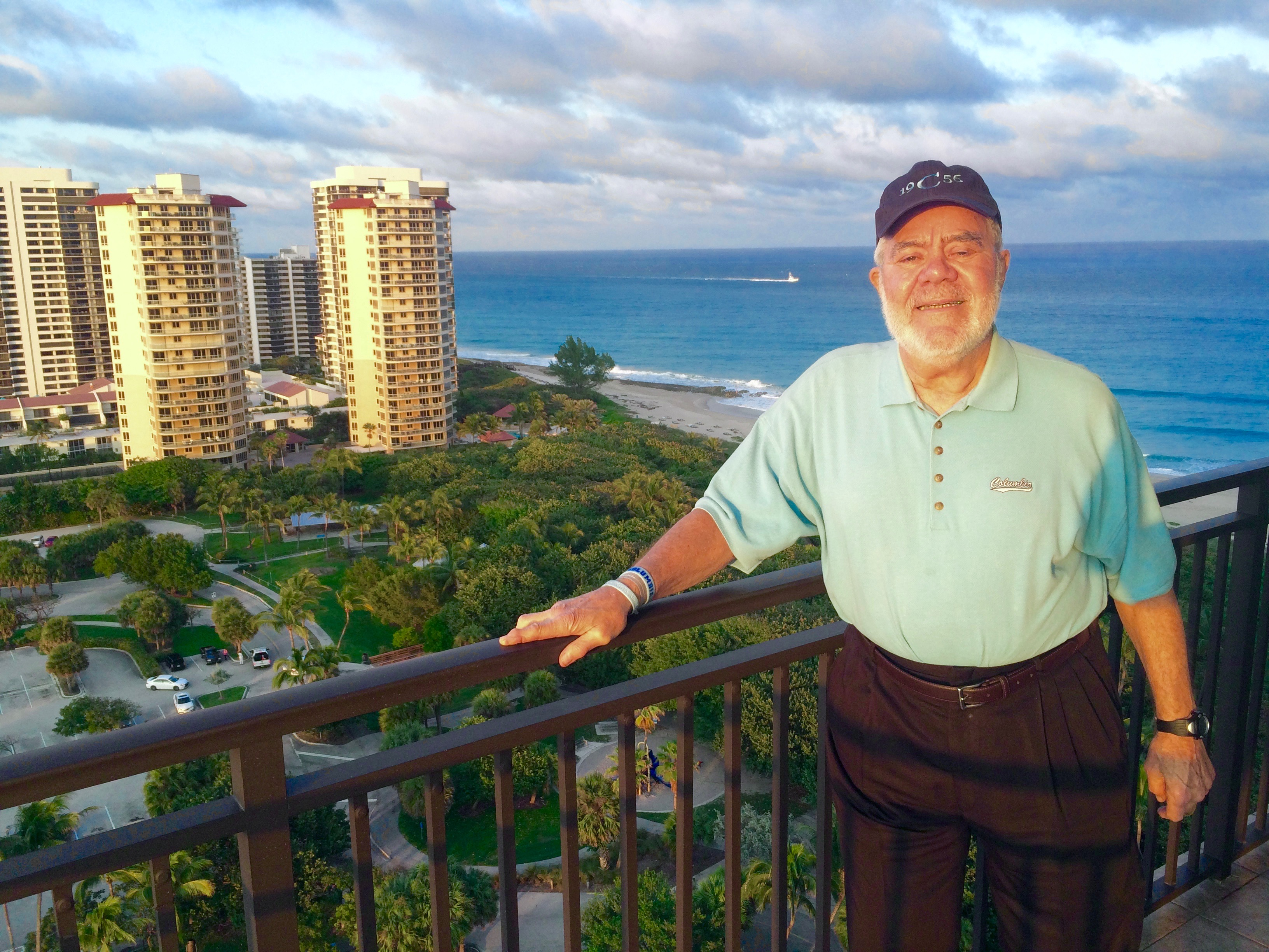 Ron on the balcony of the Marriott Singer Island Beach Resort & Spa