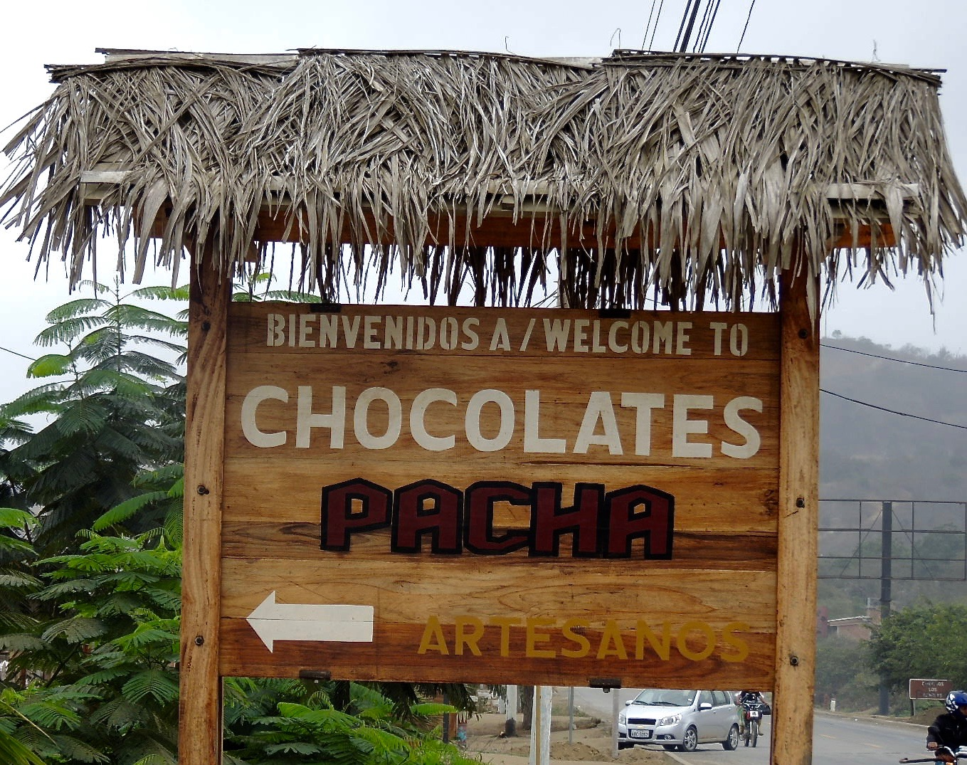 Pacha sign in front of chocolate factory.