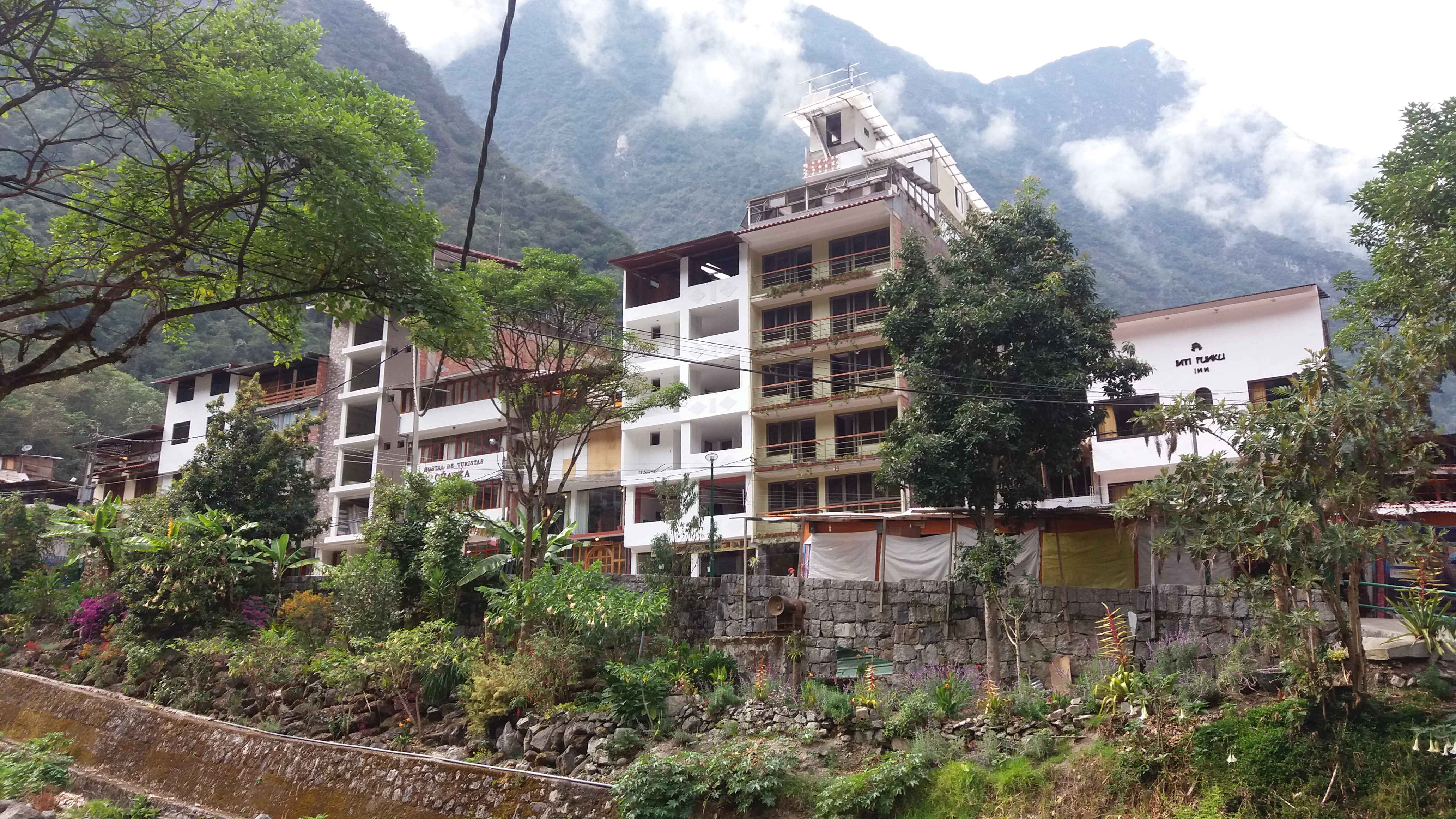 Aguas Calientes, a town located at the bottom of the mountain.