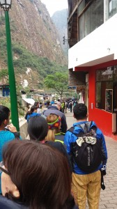 Line to get on the bus. Thirty minute ride to Machu Picchu. Wait time to get on the bus...1.5 hours.