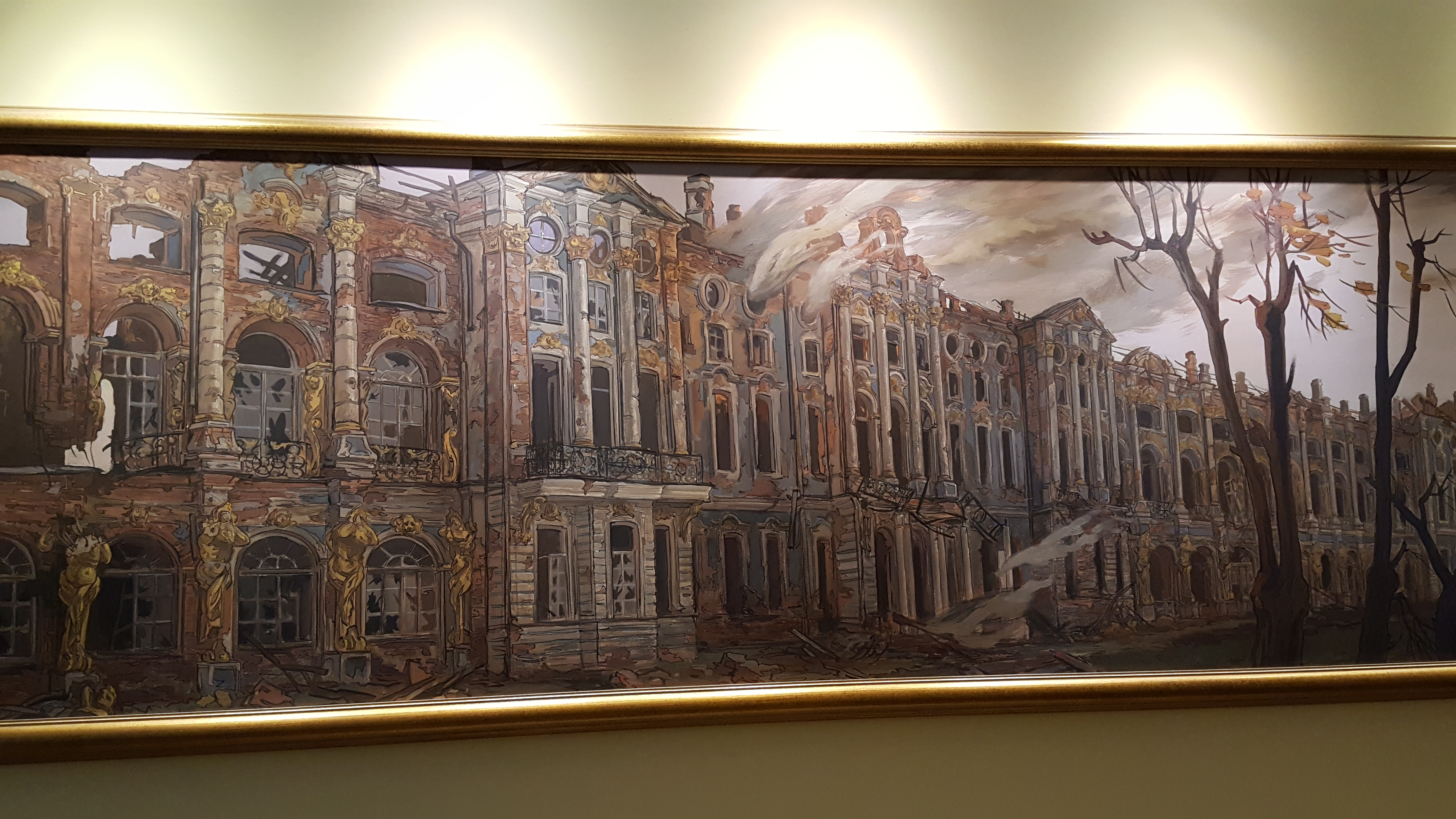Painting of Catherine Palace after the German invasion of WWII. The palace was ransacked and burned.