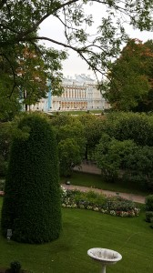 View of Catherine Palace from Cameron Gallery.