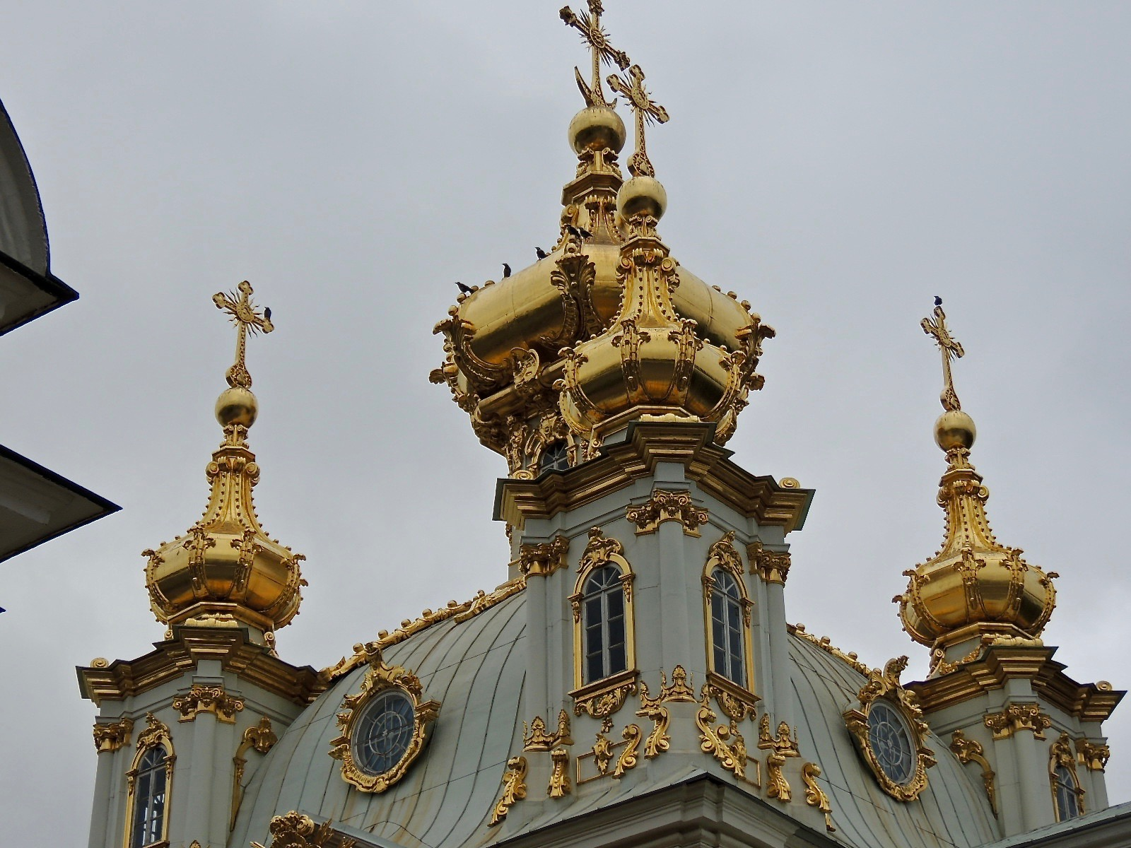 Close up of the gilded cupolas.