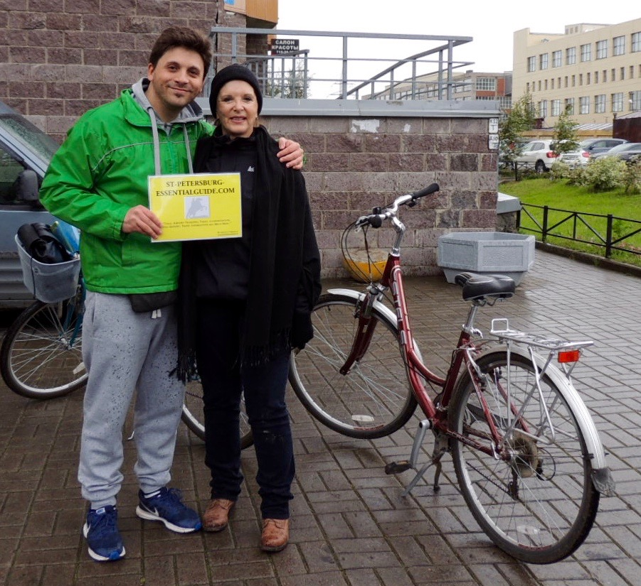 Davide Castellucci (St. Petersburg Essential Guide) and Annie on a bike tour of a local neighborhood.
