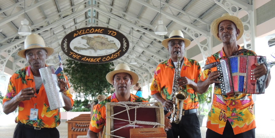 Local band greets Adonia's passengers with music at the bus terminal.