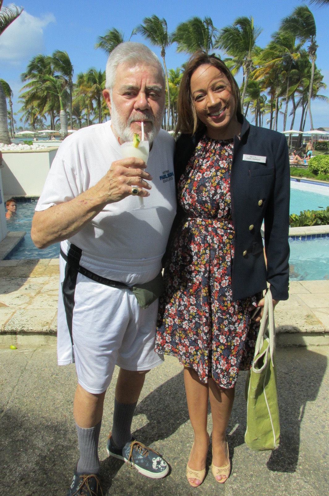Betty Gonzalez, Caribe Hilton, and Ron with a Pina Colada