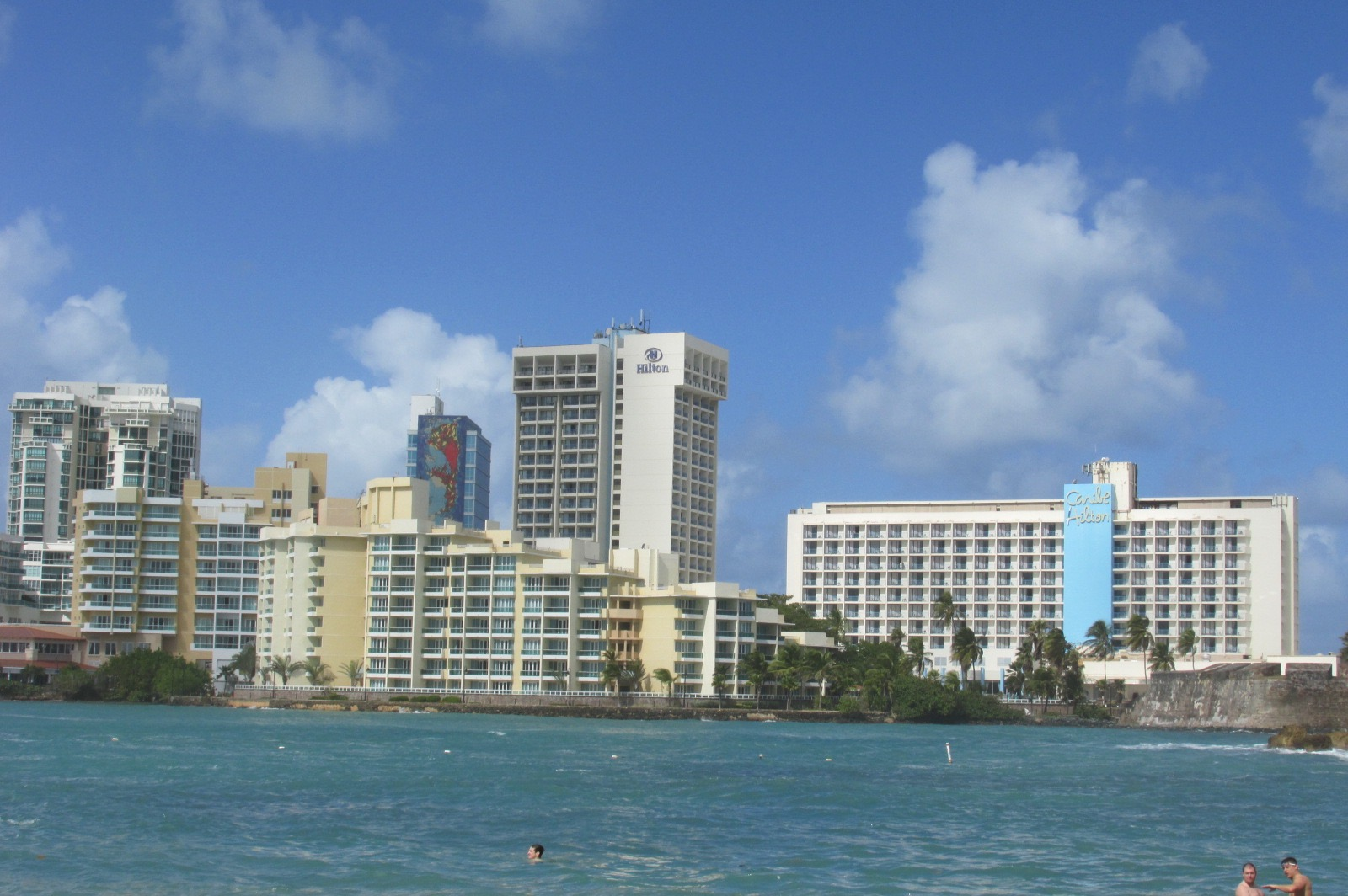 Caribe Hilton from across the lagoon