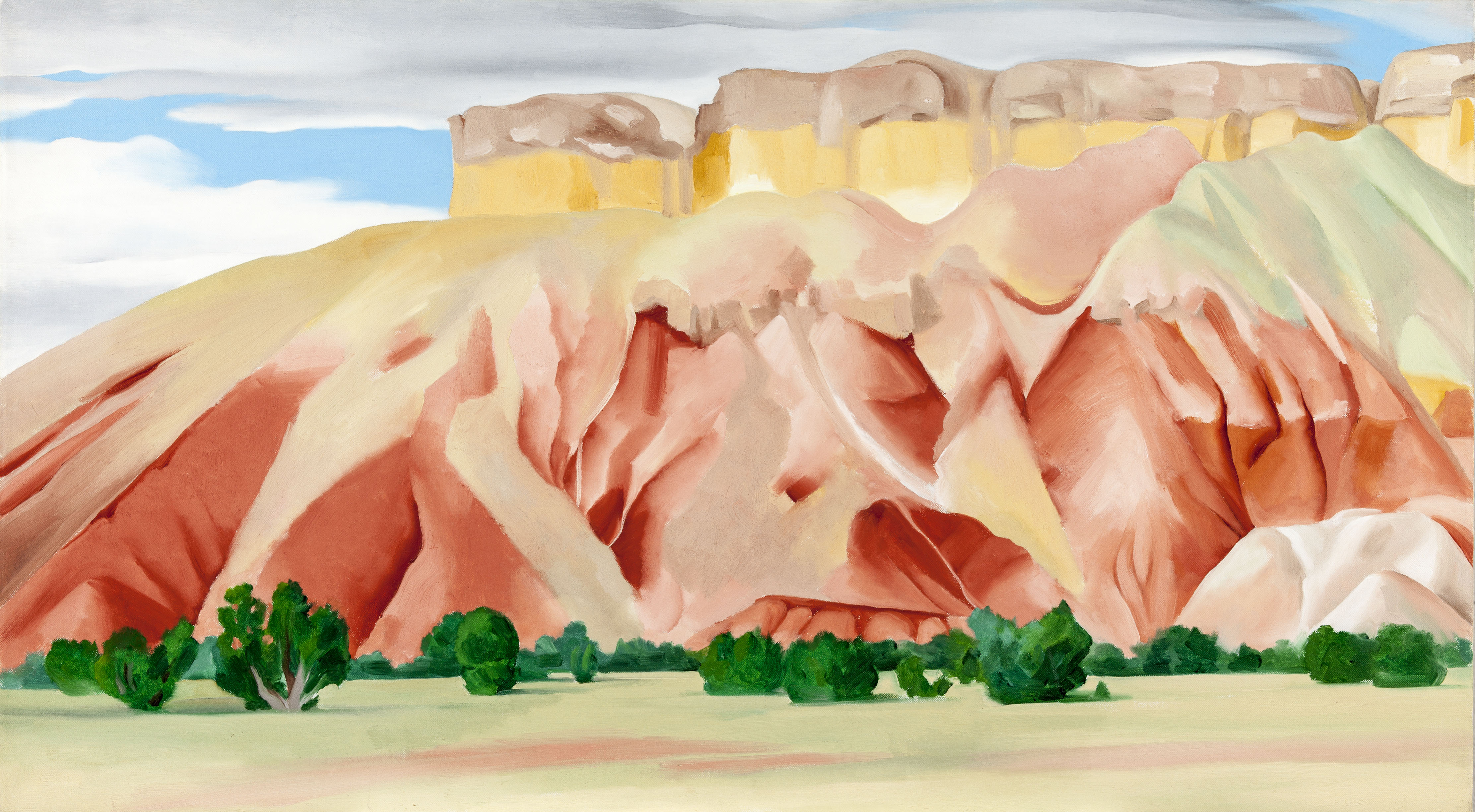 O'Keeffe's interpretation. The hills become the prominent part of the painting.