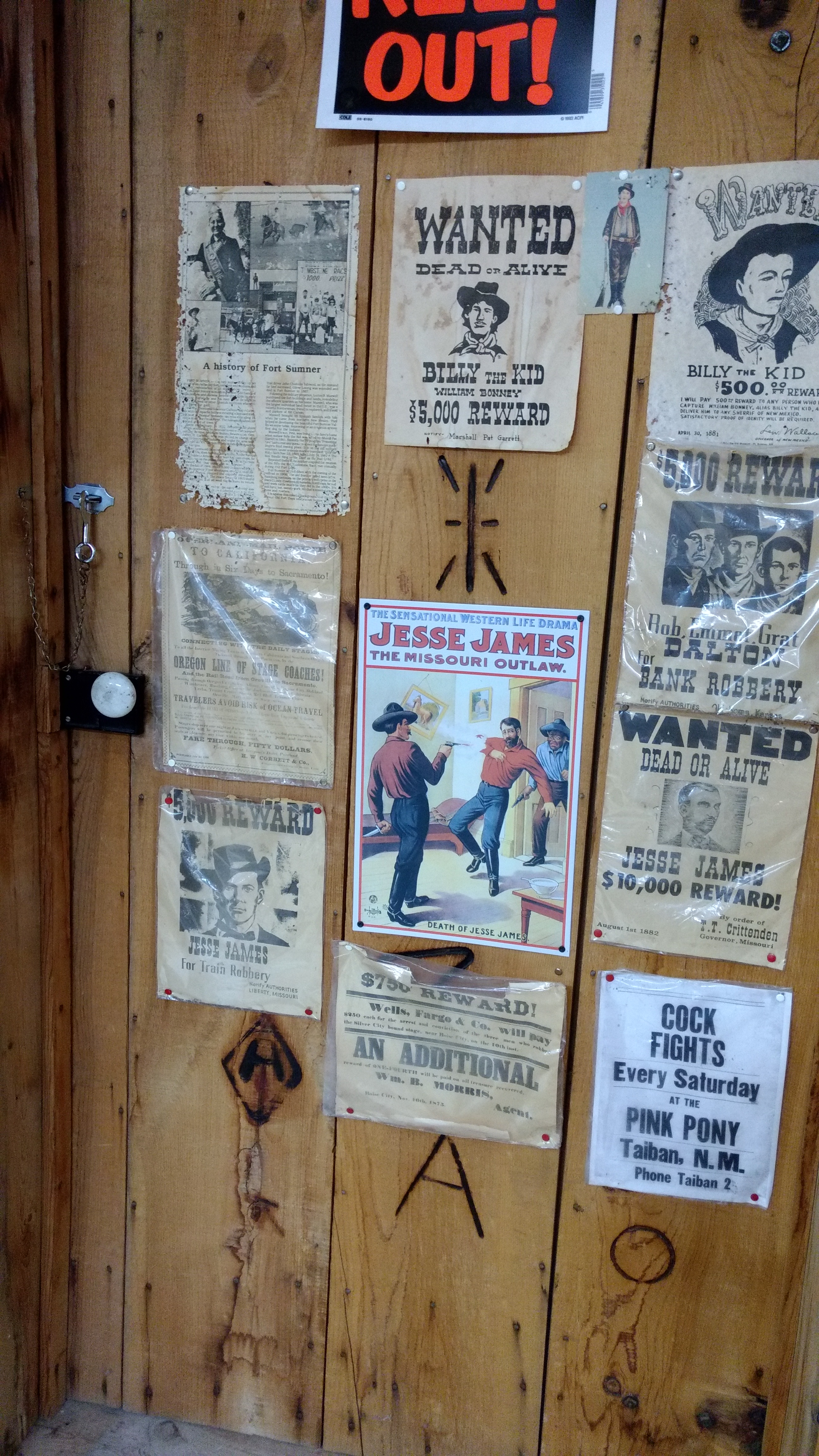 Wanted posters on notorious outlaws
