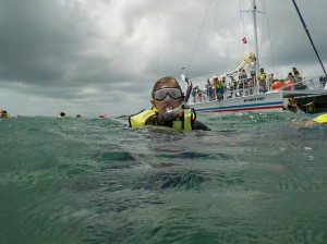Annie snorkeling in Key West with Fury.