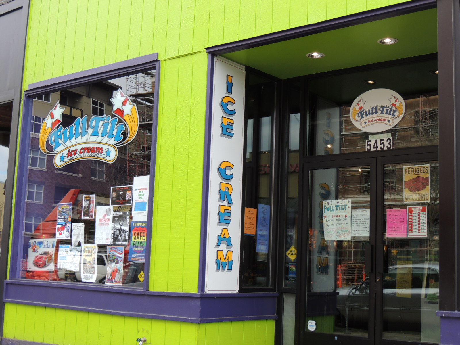 Entrance to Full Tilt Ice Cream (and Pin Ball) on Leary Street.