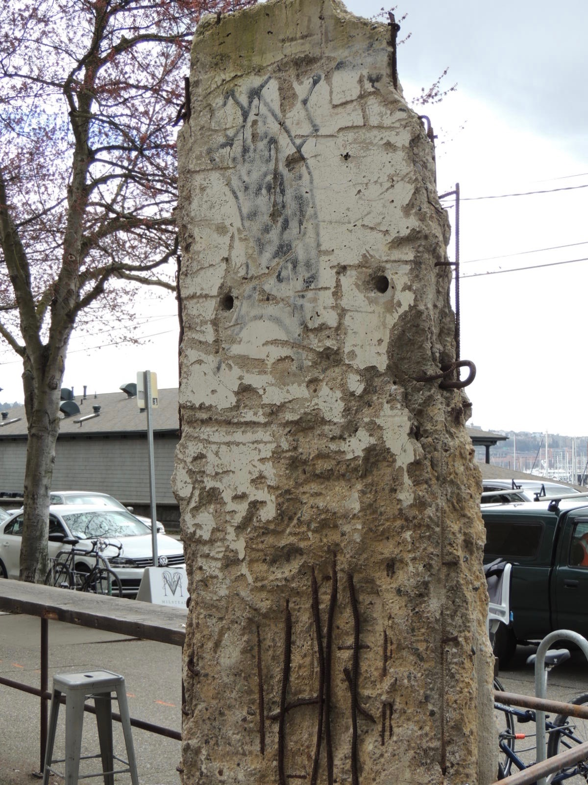 Back view of the piece from the Berlin Wall left when History House Museum closed.