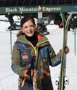 Annie in front of the Black Mountain Express, A-basin.