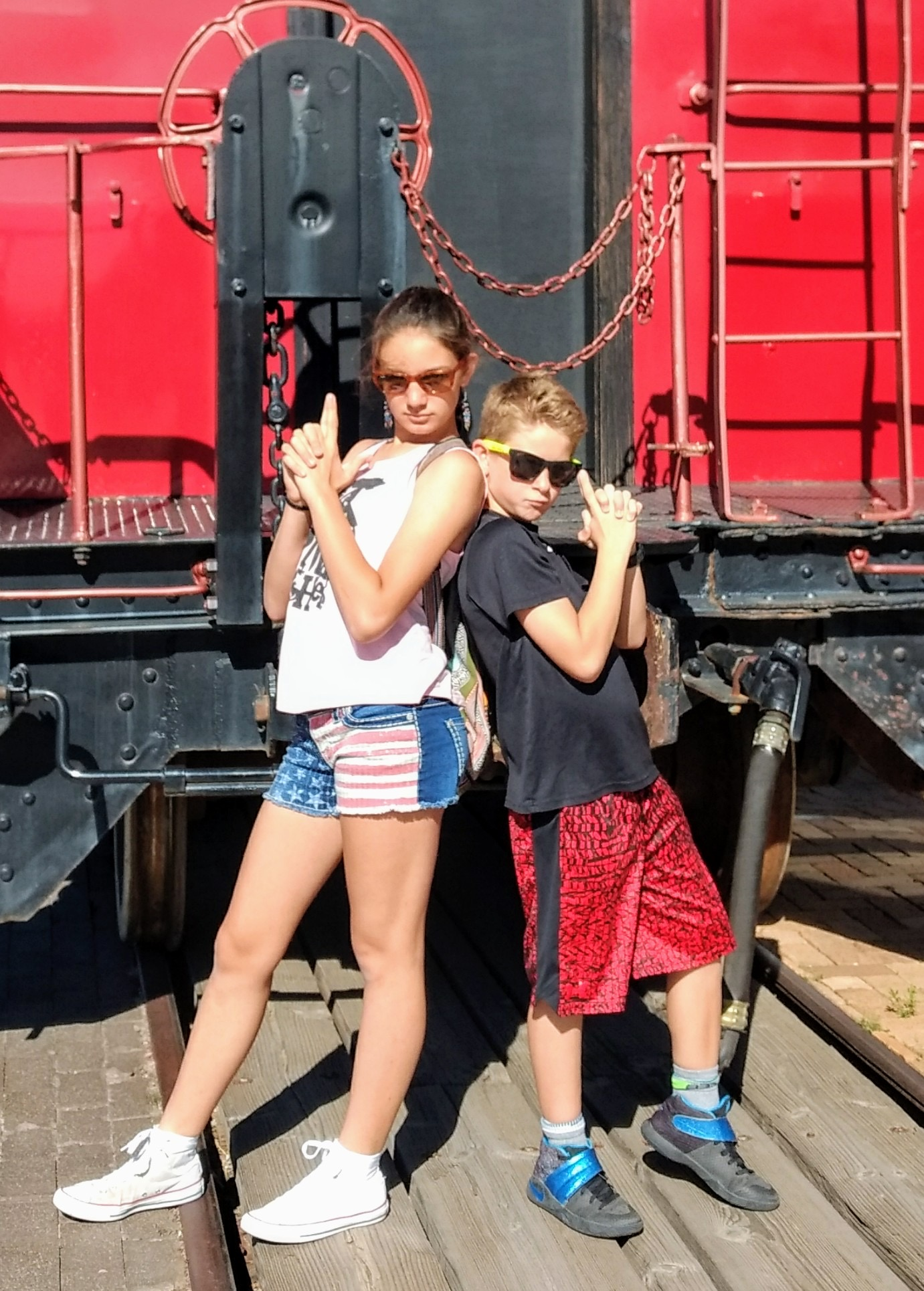 Bodhi and Sidda being cute before the train ride.