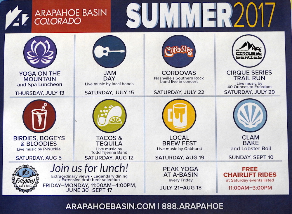 A-basin Summer Schedule