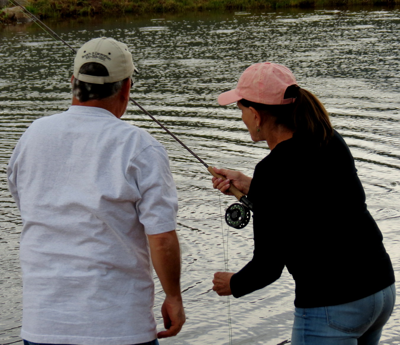 Lonnie giving me a fly fishing lesson.