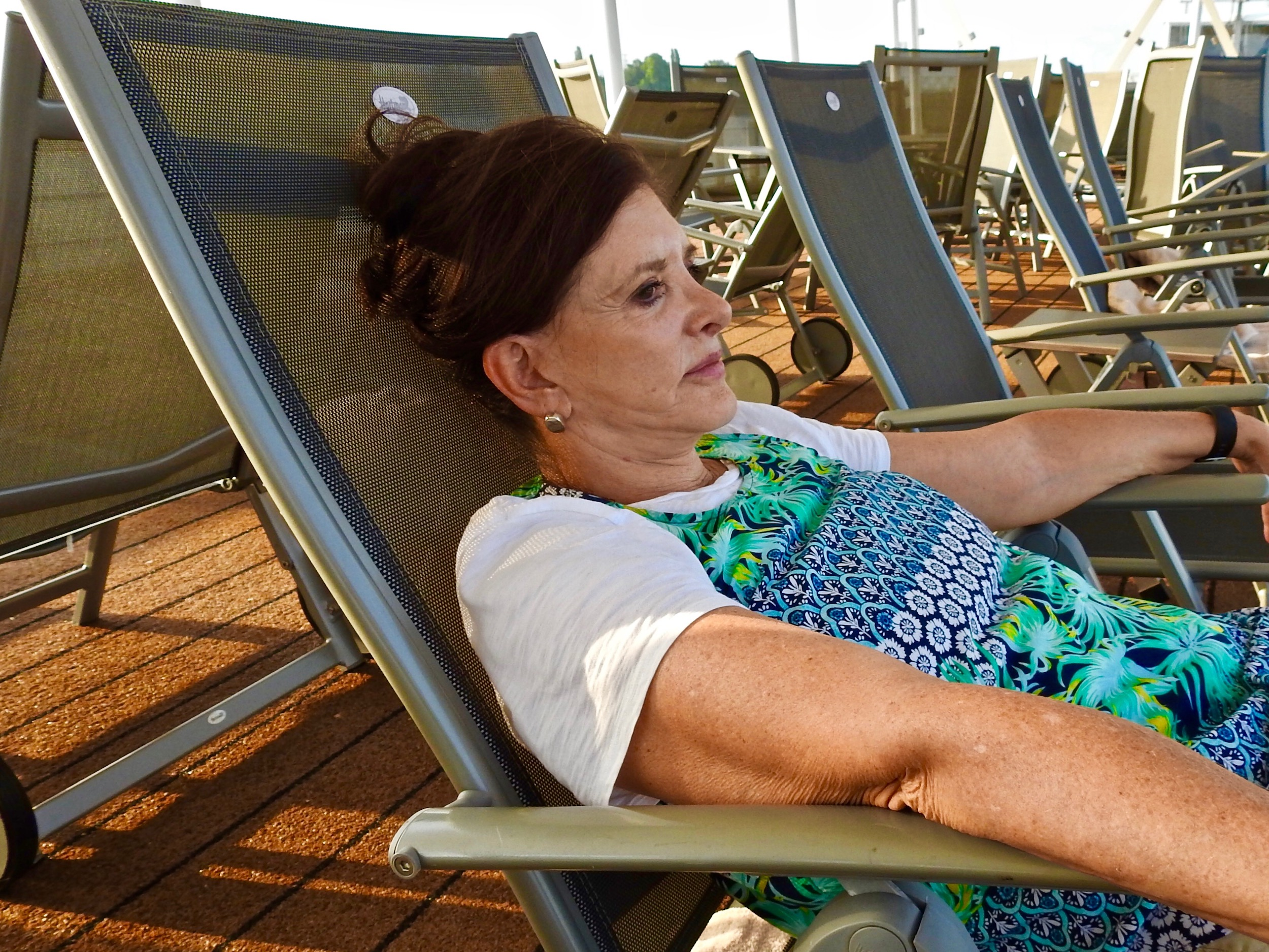 Annie relaxing aboard the Viking River Cruise after a day visiting Budapest.