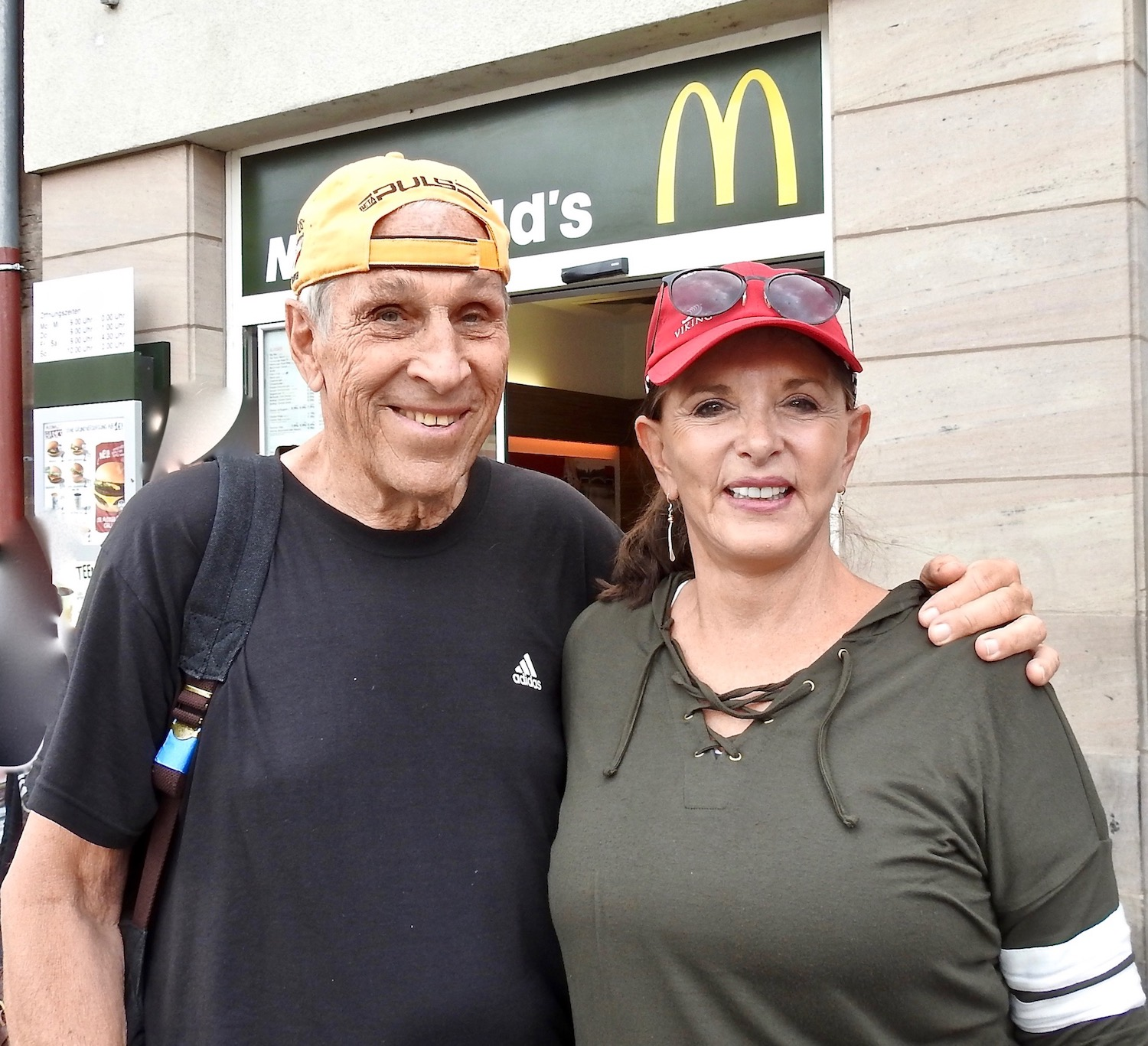 Annie and Bruce in Nuremberg in front of McDonalds on Market Square