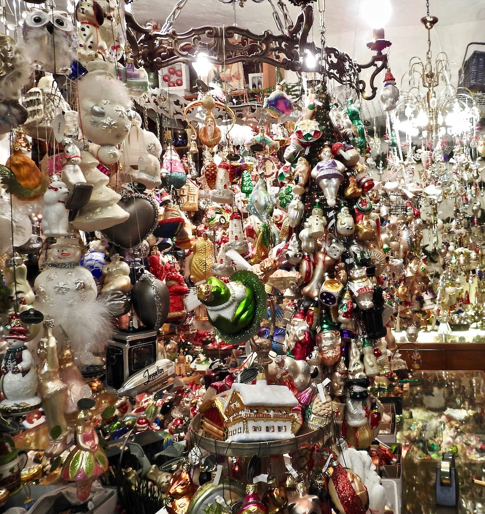 This huge collection of glass ornaments made in Germany. I bought one in the shape of a cuckoo clock which Regensburg is famous for.