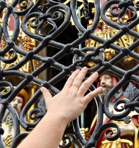 Ring on the Beautiful Fountain. Legend is if you turn the ring three times clockwise, you will return to Nuremberg.
