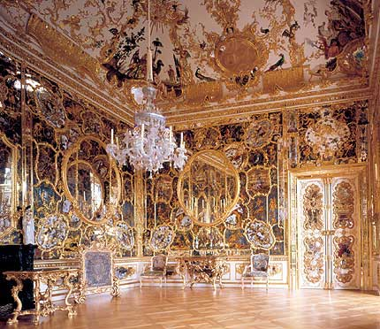 Rococo style design in the Cabinet of Mirrors. Photo from official palace website. No photos are allowed to be taken inside the Residenz.