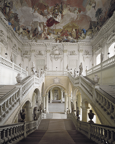 Neumann's Grand Staircase leading to the world's largest fresco.  Photo from official Residenz website.