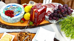 A close-up of the variety of cheeses.