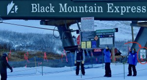 "Black Mountain Express chair lift. Heed the ""no beginners"" sign."