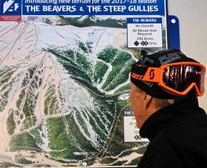 Bruce Wienke checking out the new runs opening this season.