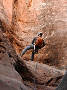 Duncan at the first level of the rappel.
