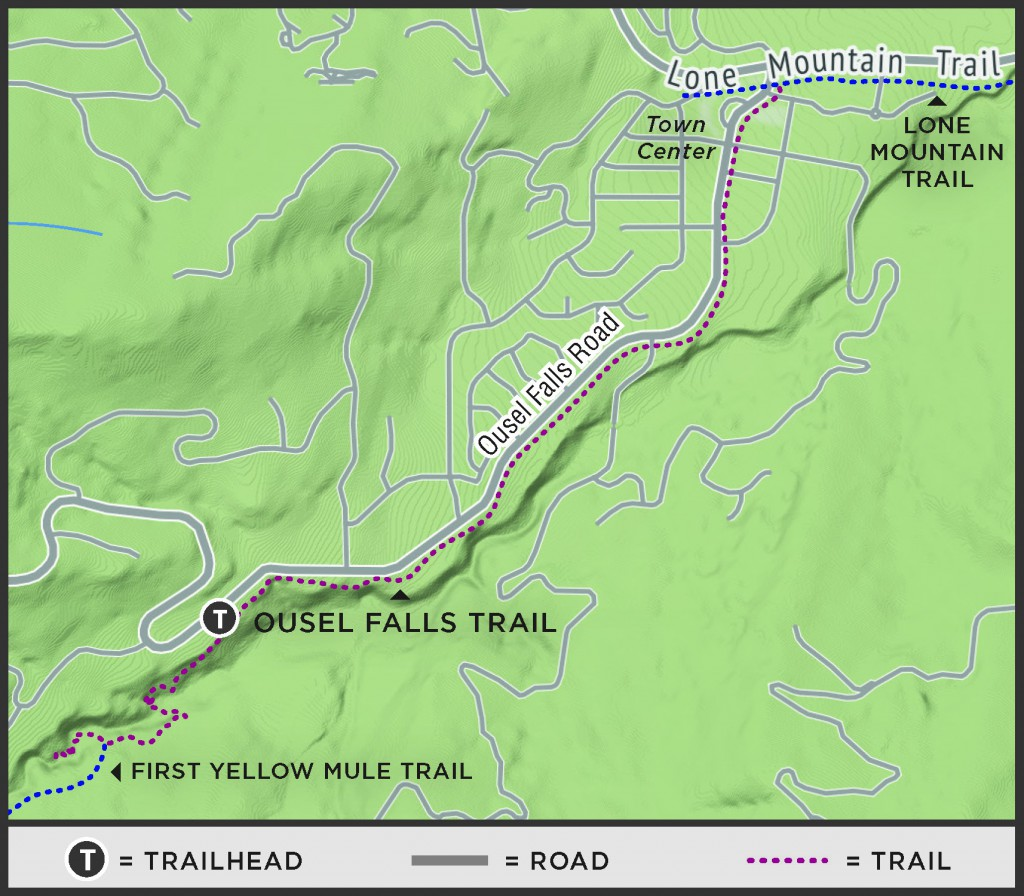 Trail map from Big Sky Town Center to the Trailhead.