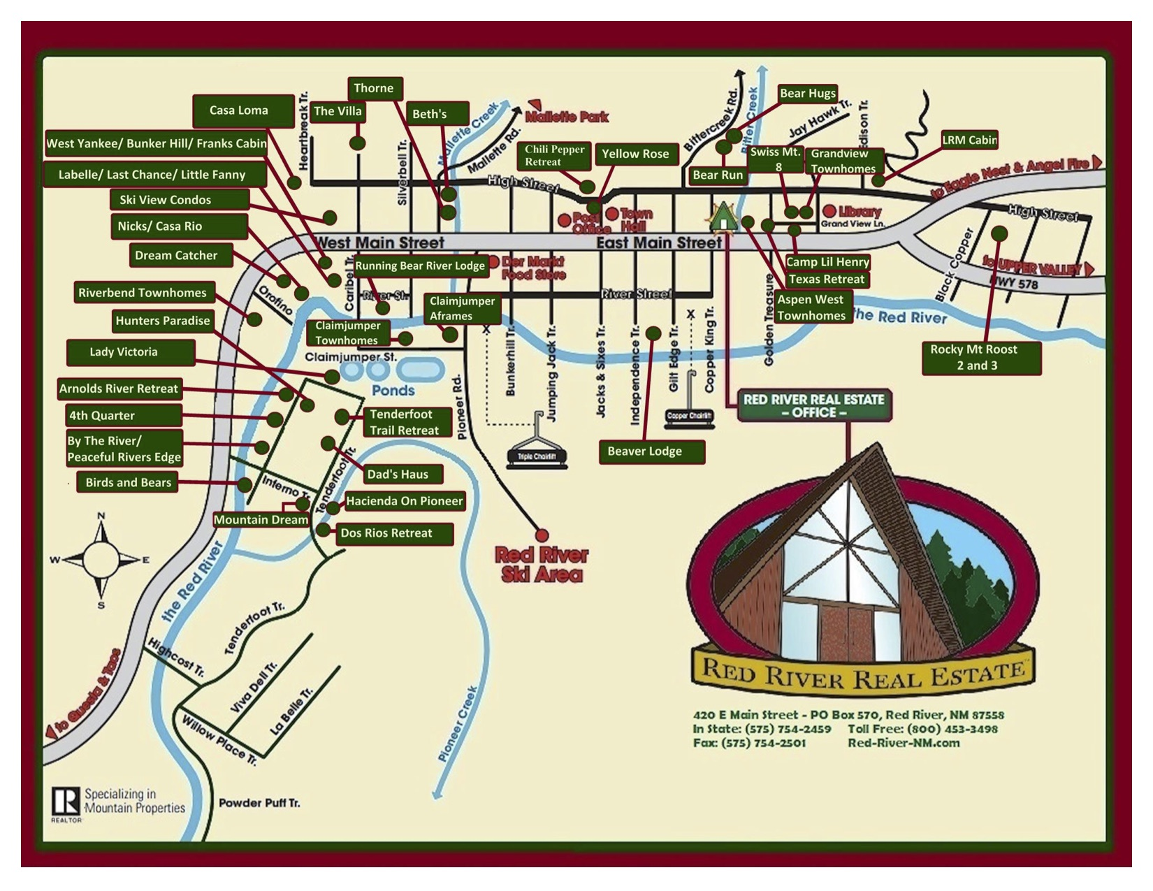 Map of Red River town