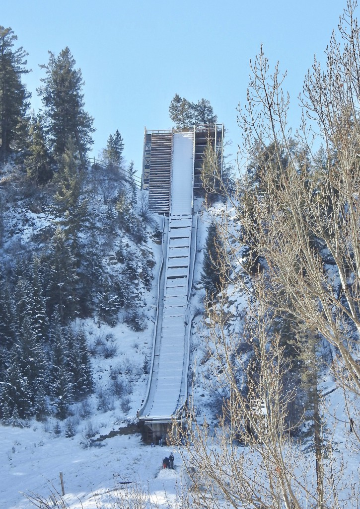Carl Howelson introduced Steamboat to ski jumping in 1913. This 90 meter jump was built in 1950.