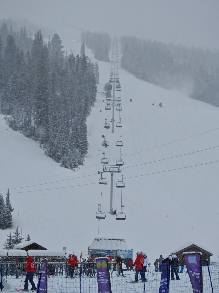 Let It Snow...and it is. Photo of one of the ski lifts from the base camp area.