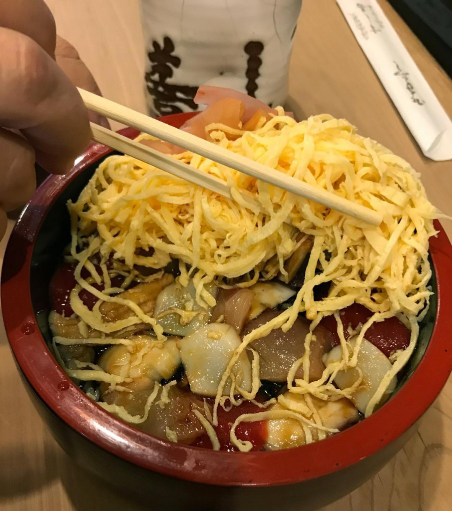 Trendy Chirashi Bowl with egg topping