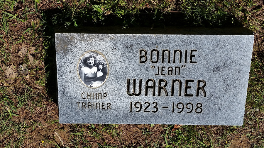 "Chimp trainer, Bonnie ""Jean"" Warner; photo courtesy of Atlas Obscura website"