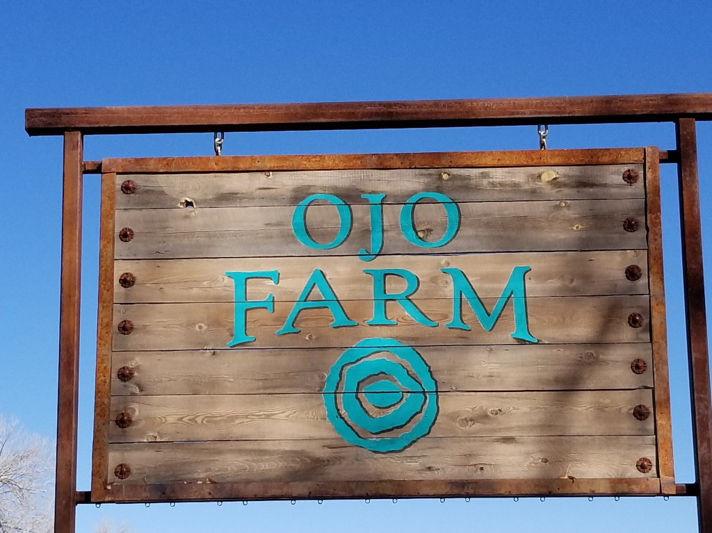 The sign for the Ojo Farm where the produce is grown to supply the Artesian Restaurant and Wine Bar