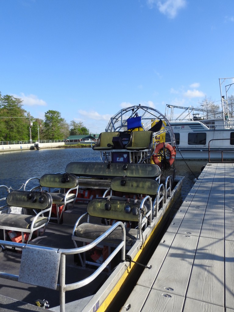 Airboat at Airboat Swamp Tour waiting for us to board.