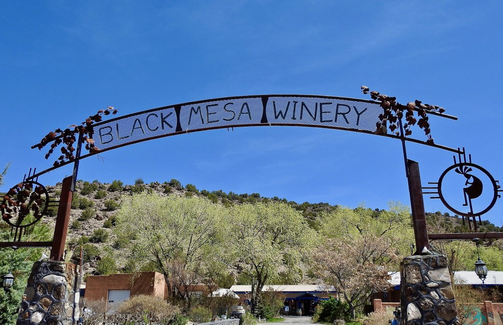 Sign at the entrance to Black Mesa Winery in Velarde, New Mexico