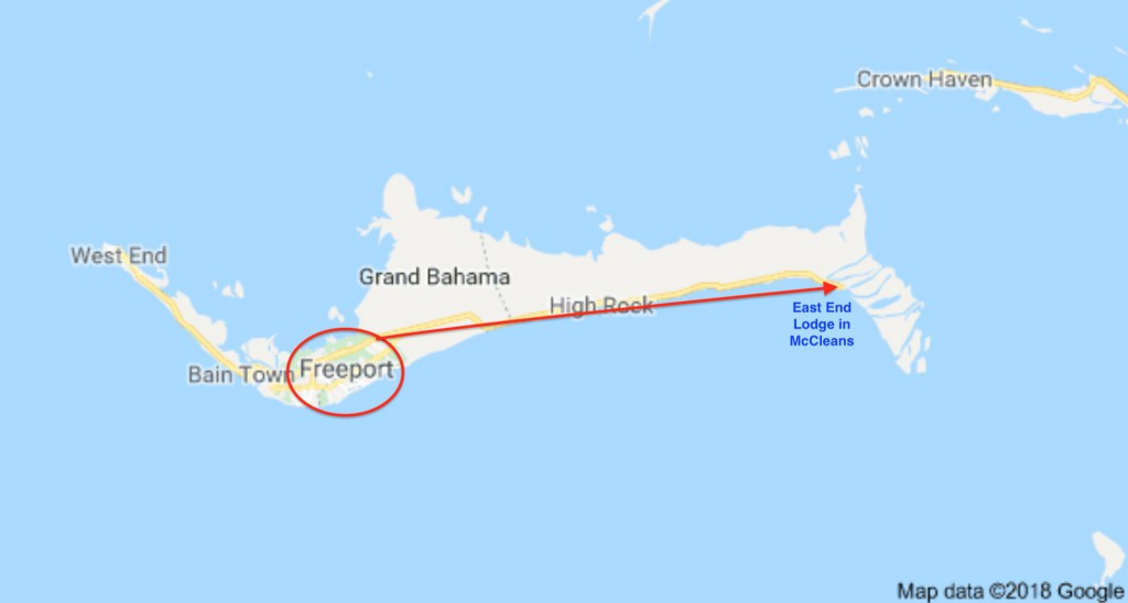 Grand Bahamas map. Fly into Freeport, then a 50 minute drive to East End Lodge.