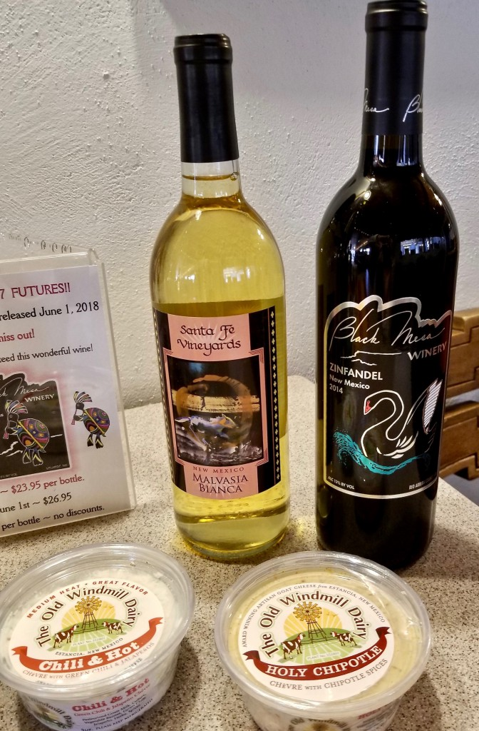 Old Windmill Dairy's cheese paired with Black Mesa's Malvasia Bianca and 2014 Zinfandel.