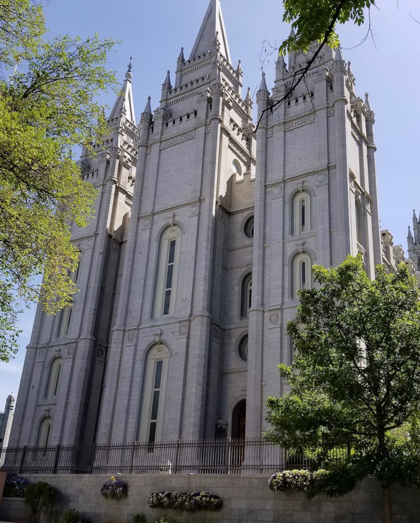 SLC Mormon Temple, completed in 1893. Constructed from quartz monzonite mined at Little Cottonwood Canyon. The Temple is not open to the general public.