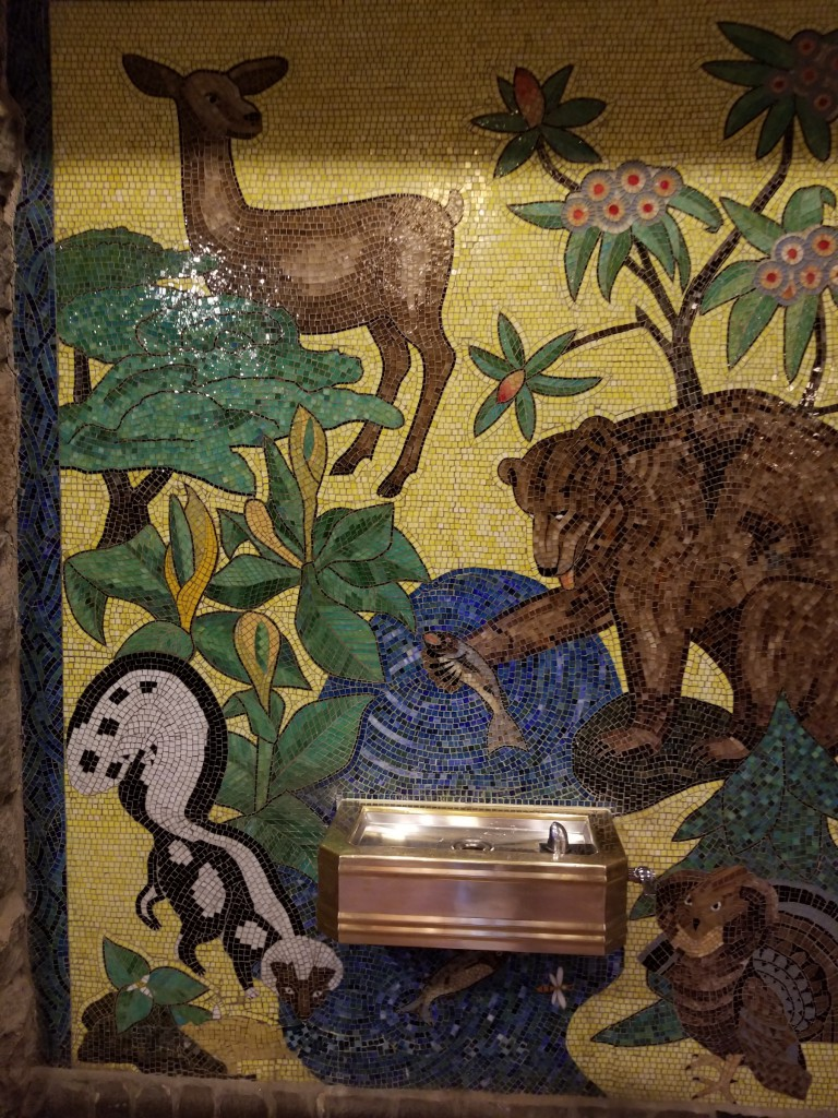 Indigenous animals and plants of the area, created with remaining glass from the Blue Ox mosaic.
